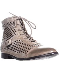 Kensie - Rahi Perforated Lace Up Ankle Boots, Taupe - Lyst