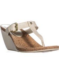 Lauren by Ralph Lauren - Lauren Ralph Lauren Roseanne Wedge T Strap Sandals - Lyst
