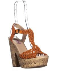 Mojo Moxy - Dolce By Jude Woven T-strap Platform Sandals - Lyst