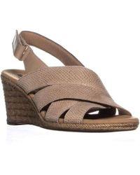 1ef54fc99eb9 Clarks Annadel Eirwyn Comfort Wedge Sandals in Metallic - Lyst