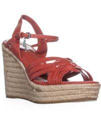 COACH - Dottie Strappy Ankle Strap Wedge Sandals - Lyst