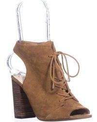 1754f66ccdb1d5 Jessica Simpson - Klaya Lace Up Peep Toe Open Heel Ankle Booties - Lyst