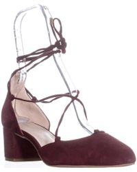 Kenneth Cole - New York Toniann Lace Up Round Toe Kitten Heels - Lyst