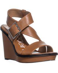 Calvin Klein - Palma Buckle Wedge Sandals, Cognac - Lyst