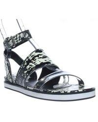 Pour La Victoire - Sabina Ankle Strap Flat Sandals - Black/white/silver - Lyst