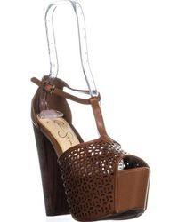 Jessica Simpson - Dany5 T-strap Perforated Platform Sandals - Lyst