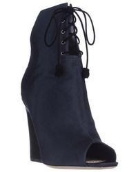 Dior - Brooklyn Lace-up Peep-toe Ankle Booties - Midnight - Lyst