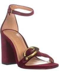d9a925b65b86 COACH - Maya 85 Block Heel Front Logo Buckle Sandals - Lyst