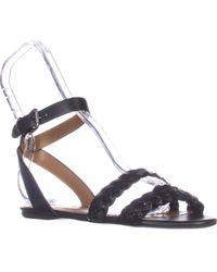 f6c899fb5644 COACH - Scarlett Flat Ankle Strap Sandals - Black - Lyst