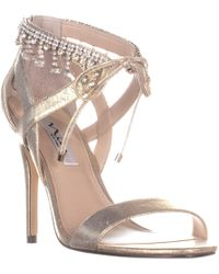 01df9f801f5 Nina Fenna Heeled Evening Sandals in Metallic - Lyst