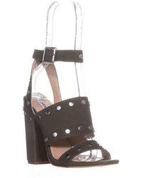 c6dcc385623 Steve Madden Tala Peep Toe Block Heeled Sandals in Brown - Lyst