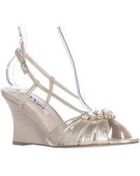 Nina - Viani Jewelled Wedge Strappy Dress Sandals - Lyst