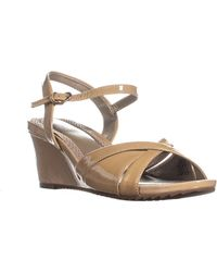 4167c6f52d92 Easy Spirit - Laralee Peep Toe Ankle Strap Wedge Sandals - Lyst