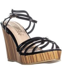 ef00c705883b Callisto - Brush Strappy Wedge Sandals - Lyst