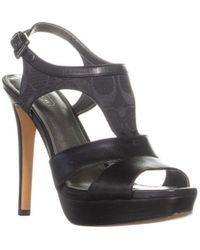 fa6e8c31ad675 Coach Delilah Peep Toe Kitten Heels - Black/black in Black - Lyst