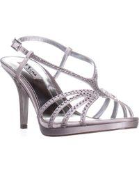 8c1908228c55 Lyst - Nina Gleda Satin Slingback Sandals in Metallic