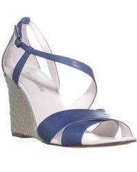 Enzo Angiolini - Vanda Ankle Strap Wedge Sandals, Dark Blue - Lyst