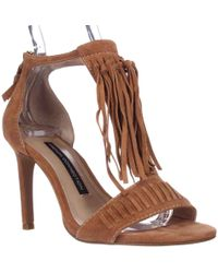 d8473f2f69d French Connection - Lilyana Fringe Ankle Strap Sandals - Lyst