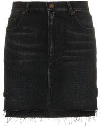 Saint Laurent - Faded-effect Mini Skirt - Lyst