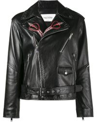 Valentino Love Blade Embroidered Leather Jacket