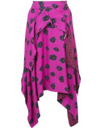Proenza Schouler - Asymmetrical Printed Midi Skirt - Lyst