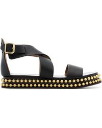 Chloé - Black Sawyer Studded Leather Flatform Sandals - Lyst
