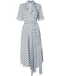 Adam Lippes - Striped Asymmetrical Belted Dress - Lyst