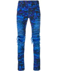 Balmain - Distressed Camouflage Jeans - Lyst
