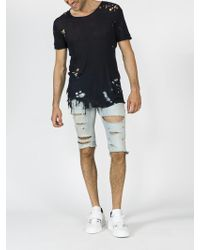 Balmain - Destroyed Denim Shorts - Lyst