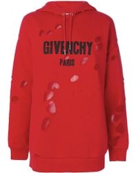 Givenchy - Distressed Logo Print Hoodie - Lyst
