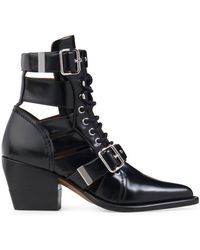 Chloé - Rylee Black Cutout Leather Ankle Boots - Lyst