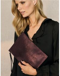 The White Company - Metallic Suede Wristlet Clutch - Lyst