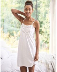 The White Company - Cotton Lace Insert Jersey Nightie - Lyst