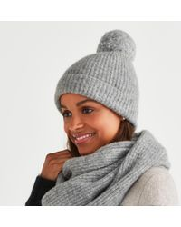 The White Company - Alpaca-rich Ribbed Bobble Hat - Lyst