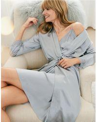 The White Company - Silk Lace Trim Robe - Lyst