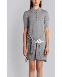 Thom Browne - 2-in-1 Cardigan Polo Dress In Light Grey Fine Merino Wool - Lyst
