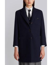 Thom Browne - Unlined Button Back Sack Overcoat In Navy Solid Double Face Melton - Lyst