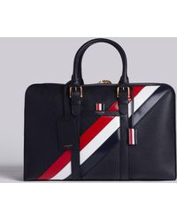 Thom Browne - Medium Holdall With Red, White And Blue Diagonal Stripe In Pebble Grain & Calf Leather - Lyst