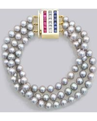 Thom Browne - Sarah Jane Wilde X 3 Strand Grey Pearl Necklace With Rubies, Sapphires & Diamonds In 18k Yellow Gold - Lyst
