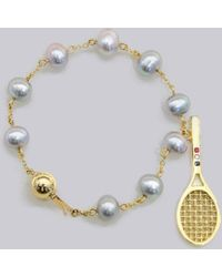 Thom Browne - Sarah Jane Wilde X Miniature Tennis Racket Necklace With Rubies, Sapphires & Diamonds In 18k Yellow Gold - Lyst