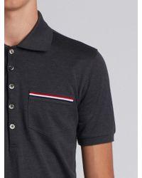 Thom Browne - Short Sleeve Polo Shirt In Dark Grey Pique - Lyst