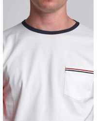 Thom Browne - Long Sleeve T-shirt In Colorblocked Cotton Jersey - Lyst