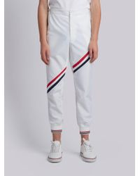 Thom Browne | Unconstructed Side Tab Rib Knit Track Trouser With Seamed In Diagonal Stripe In Nylon Tech | Lyst