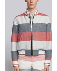 Thom Browne - Reversible Rugby Stripe Melton Wool Blouson Bomber - Lyst