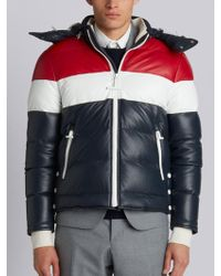 Thom Browne - Downfilled Three Panel Leather Ski Jacket With Front Zip & Detachable Hood In Red, White And Blue Deerskin - Lyst