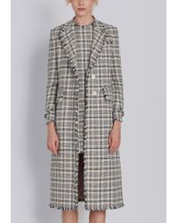 Thom Browne | Single Breasted Wide Lapel Overcoat With Fray In Madras Cotton Tweed | Lyst