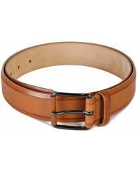 Armani - Calfskin Leather Belt Tan - Lyst