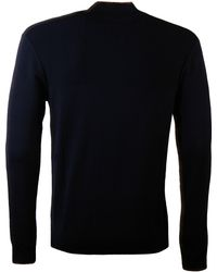 Armani Jeans - Zip Contrast Sweater Navy - Lyst