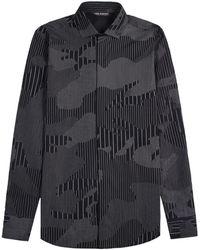 Neil Barrett - Camouflaged Pinstripe Shirt Navy - Lyst