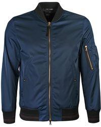PS by Paul Smith - Blue Satin Nylon Bomber Jacket - Lyst